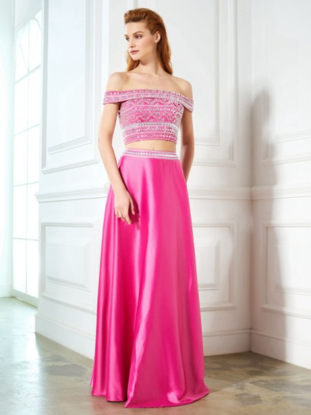 Fashion A-Line/Princess Beading Sleeveless Off-the-Shoulder Satin Floor-Length Two Piece Dresses