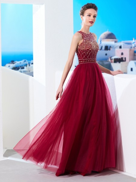 Stylish A-Line/Princess Sleeveless Floor-Length Scoop Beading Tulle Dresses
