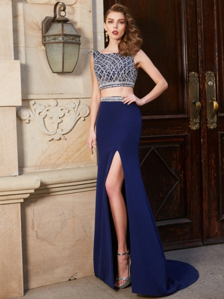 Fashion Sheath/Column Sleeveless Sweep/Brush Bateau Train Beading Elastic Woven Satin