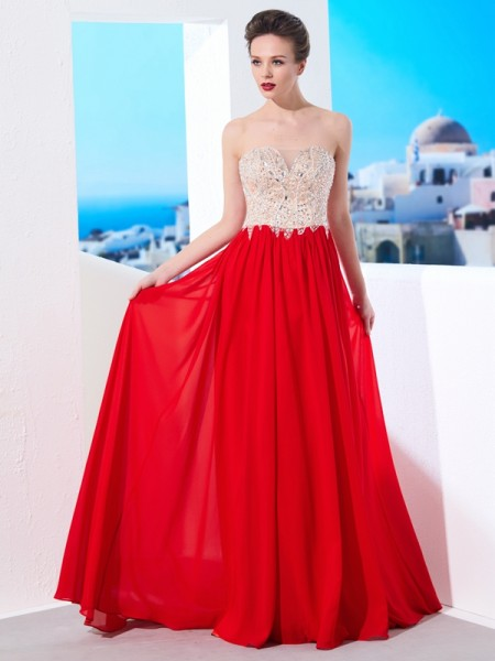 Fashion A-Line/Princess Beading Sleeveless Strapless Chiffon Sweep/Brush Train Dresses