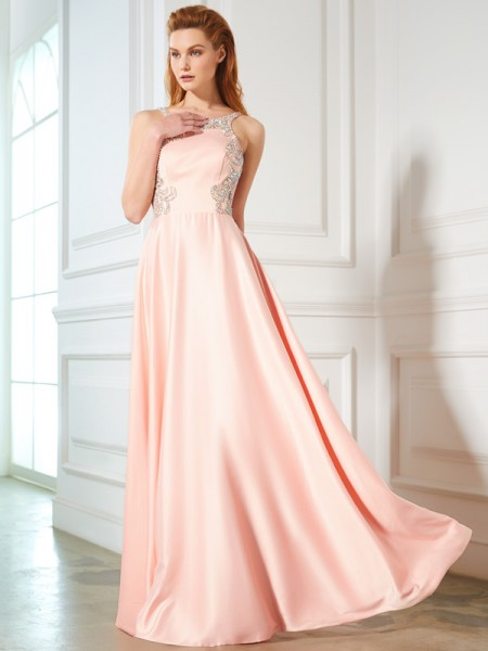 Stylish A-Line/Princess Beading Sleeveless Scoop Satin Floor-Length Dresses