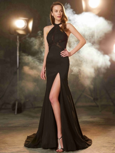 Stylish Sheath/Column Sleeveless Sweep/Brush Jewel Train Beading Elastic Woven Satin