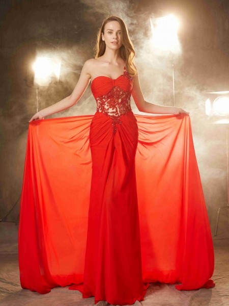 Stylish Sheath/Column Sleeveless Sweep/Brush One-Shoulder Train Beading Chiffon Dresses