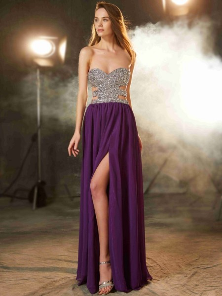 Stylish A-Line/Princess Crystal Sleeveless Sweetheart Floor-Length Chiffon Dresses
