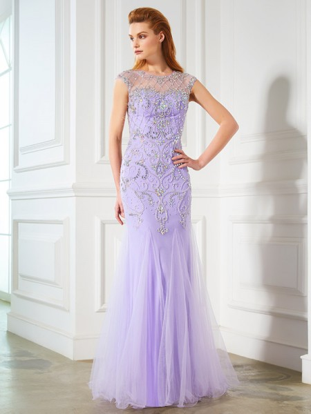 Fashion Trumpet/Mermaid Sleeveless Beading Scoop Floor-length Tulle Dresses