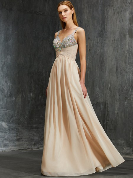 Stylish A-Line/Princess Straps Beading Spaghetti Floor-Length Chiffon Dresses