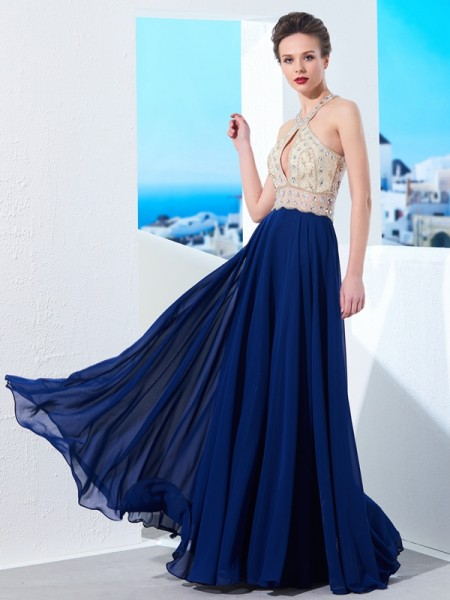 Fashion A-Line/Princess Straps Beading Sleeveless Chiffon Floor-Length Dresses