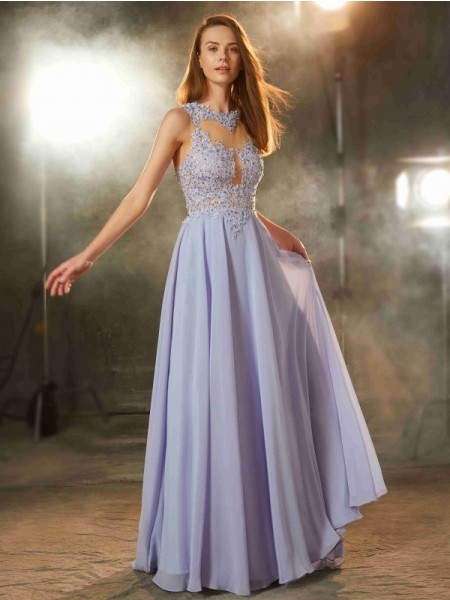 Stylish A-Line/Princess Sleeveless Floor-Length Scoop Applique Chiffon Dresses