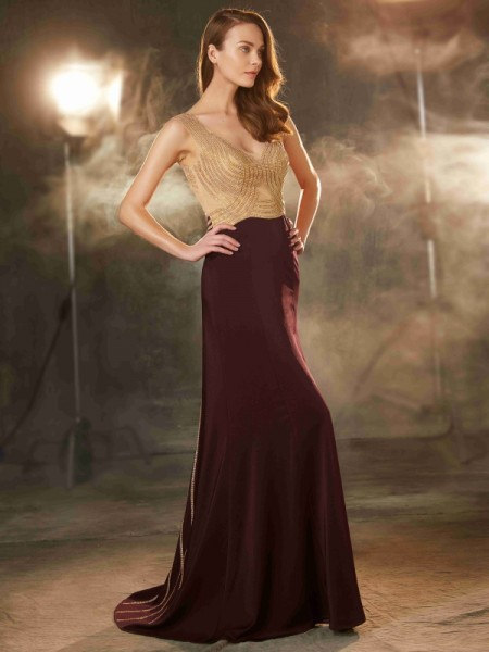 Stylish Sheath/Column Sleeveless Beading Straps Sweep/Brush Train Jersey Dresses