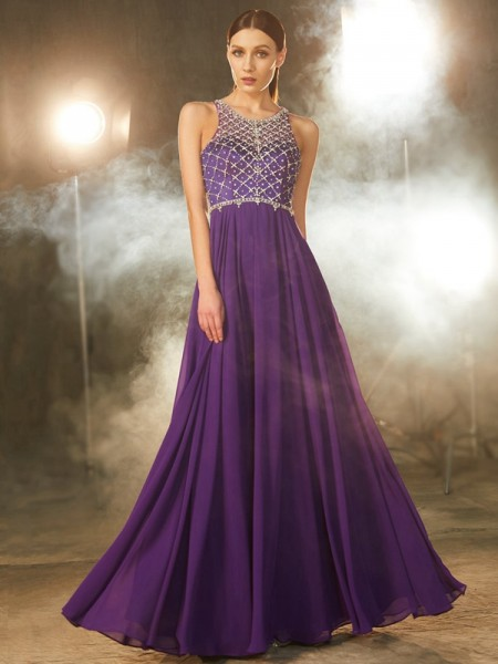 Fashion A-Line/Princess Chiffon Scoop Sleeveless Crystal Floor-Length Dresses