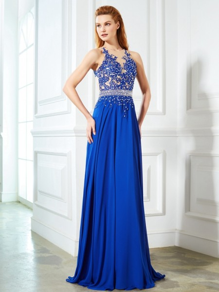 Stylish A-Line/Princess SheerNeck Chiffon Sleeveless Applique Sweep/Brush Train Dresses