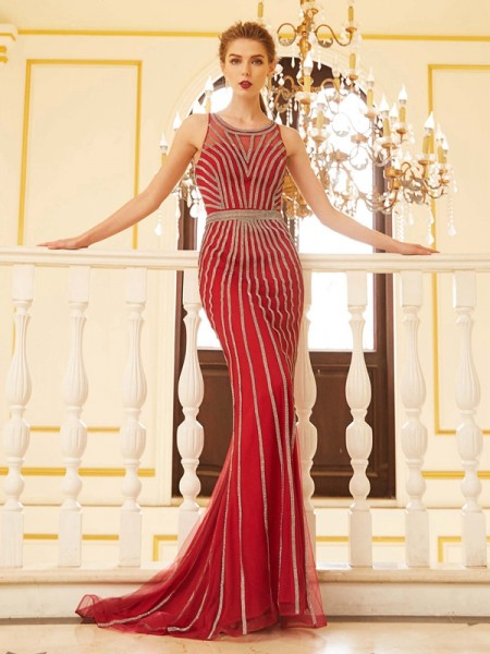 Fashion Sheath/Column Beading Sleeveless Scoop Net Sweep/Brush Train Dresses