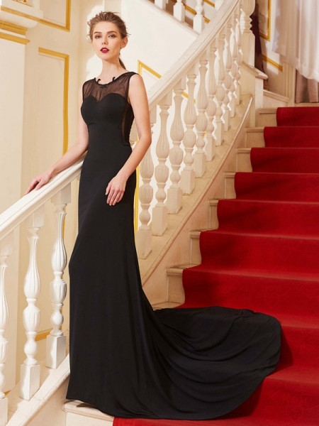 Stylish A-Line/Princess Beading Sleeveless Scoop Spandex Sweep/Brush Train Dresses