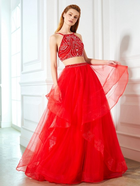 Stylish A-Line/Princess Straps Sleeveless Spaghetti Floor-Length Beading Tulle Two Piece Dresses