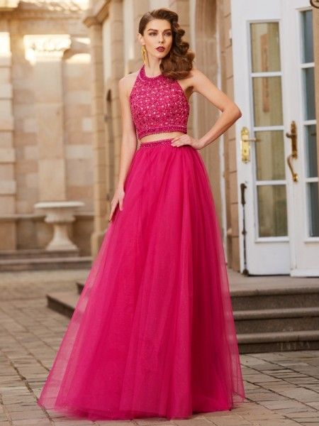 Fashion A-Line/Princess Beading Sleeveless Halter Tulle Floor-Length Two Piece Dresses