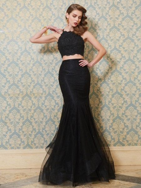 Stylish Trumpet/Mermaid Straps Sleeveless Spaghetti Applique Floor-Length Tulle Two Piece Dresses