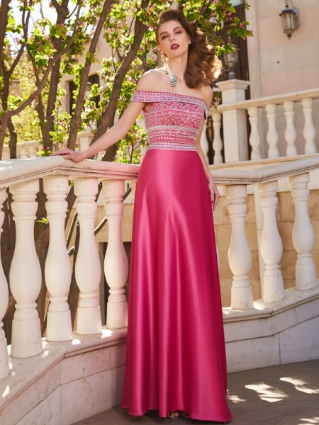 Stylish A-Line/Princess Beading Sleeveless Off-the-Shoulder Satin Floor-Length Two Piece Dresses