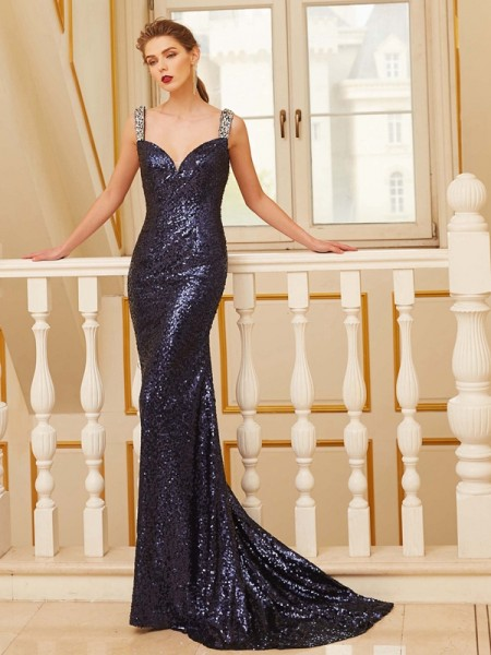 Stylish Sheath/Column Sleeveless Sweep/Brush V-neck Train Beading Sequins Dresses