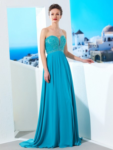 Stylish A-Line/Princess Beading Sleeveless Sweetheart Chiffon Sweep/Brush Train Dresses