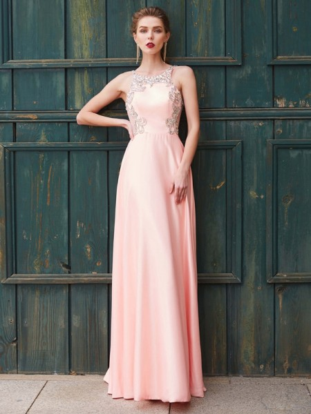 Fashion A-Line/Princess Beading Sleeveless Scoop Satin Floor-Length Dresses