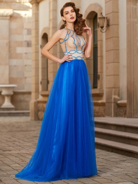 Fashion A-Line/Princess Beading Sleeveless Jewel Floor-Length Tulle Dresses