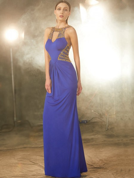 Fashion Sheath/Column Sleeveless Floor-Length Scoop Beading Spandex Dresses