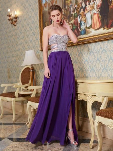 Fashion A-Line/Princess Crystal Sleeveless Sweetheart Floor-Length Chiffon Dresses