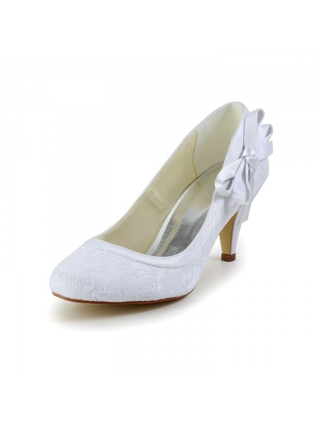 The Most Stylish Women's Amazing Satin Closed Toe Cone Heel White Wedding Shoes With Bowknot