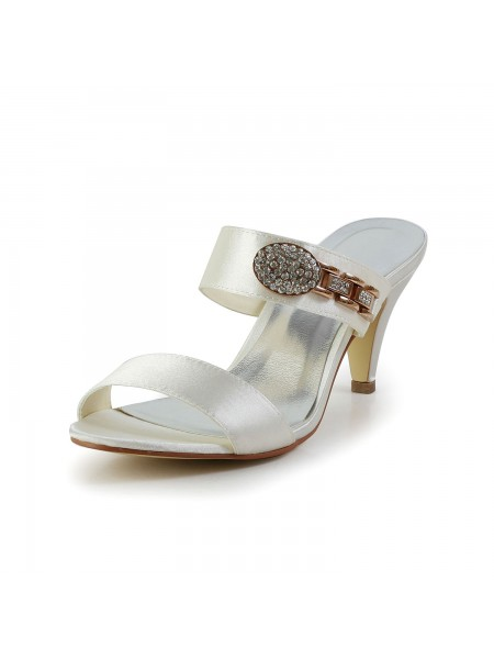 The Most Stylish Women's Attractive Satin Peep Toe Cone Heel With Rhinestone Ivory Sandal Shoes