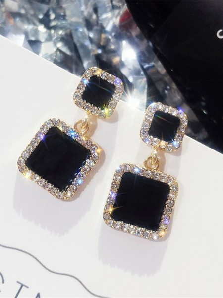 Beautiful Square Rhinestone Hot Sale Women's Earrings