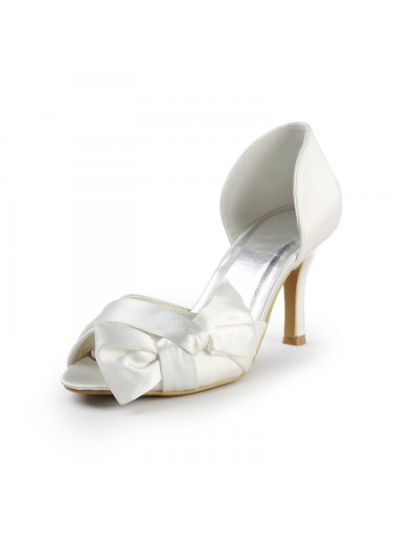 The Most Trendy Women's Satin Stiletto Heel Peep Toe With Bowknot White Wedding Shoes