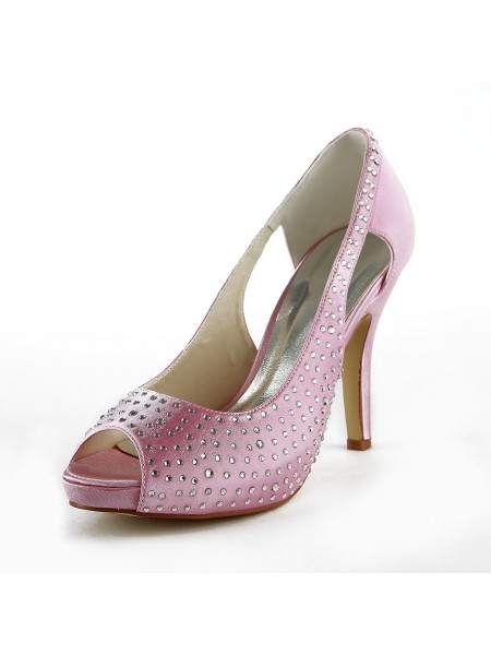 The Most Fashionable Women's Beautiful Satin Stiletto Heel Peep Toe With Rhinestone Pink Wedding Shoes
