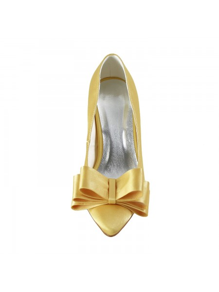 The Most Stylish Women's Satin Spool Heel Closed Toe Bowknot Gold Wedding Shoes