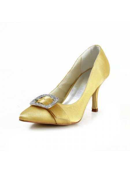 The Most Fashionable Women's Charming Satin Stiletto Heel Closed Toe With Rhinestone Gold Wedding Shoes
