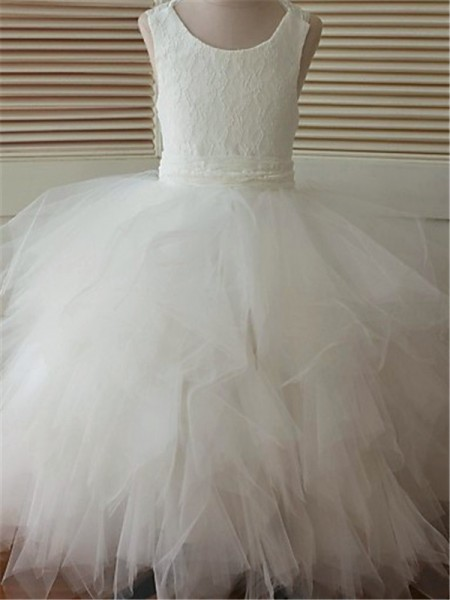 c958d42b57 Ball Gown Scoop Sleeveless Lace Floor-Length Organza Flower Girl Dresses