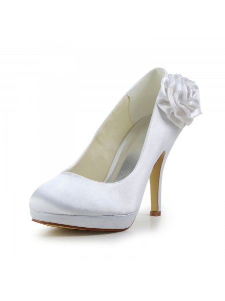 The Most Stylish Women's Elegant Satin Stiletto Heel Pumps With Flower White Wedding Shoes