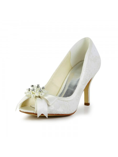 The Most Fashionable Women's Satin Stiletto Heel Pumps with Imitation Pearl and Bowknot Ivory Wedding Shoes