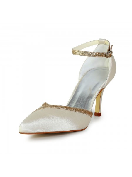 The Most Fashionable Women's Elegant Satin Stiletto Heel With Sparkling Glitter Gold Wedding Shoes