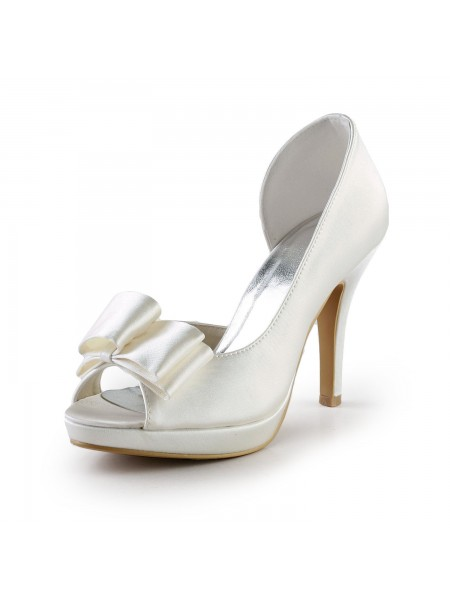 The Most Fashionable Women's Elegant Handmade Sweet Leather Butterfly Ivory Wedding High Heel Shoes