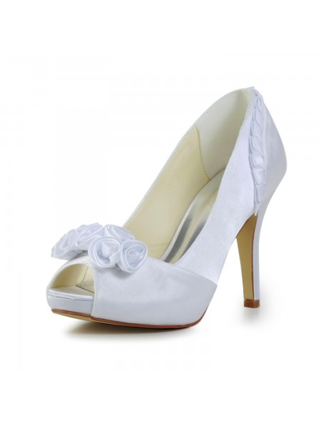 The Most Fashionable Women's Fabulous Satin Stiletto Heel Pumps With Flower White Wedding Shoes