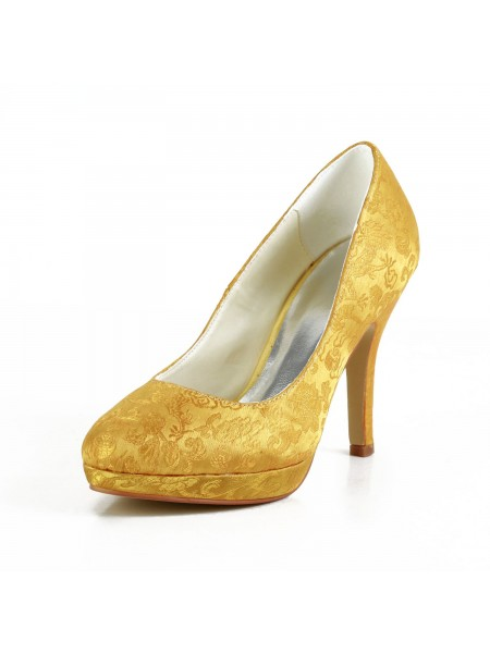 The Most Stylish Women's Satin Stiletto Heel Closed Toe Platform Gold Wedding Shoes