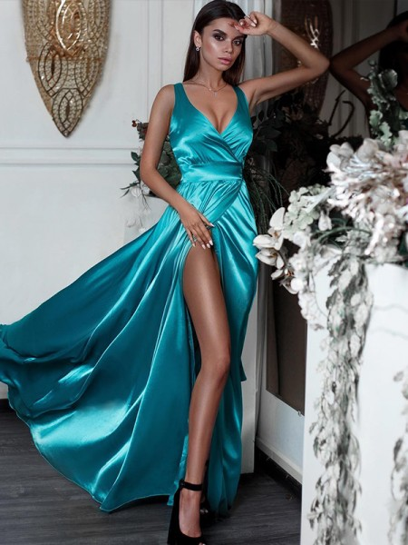A-Line/Princess Sleeveless V-neck Floor-Length Ruffles Satin Dresses