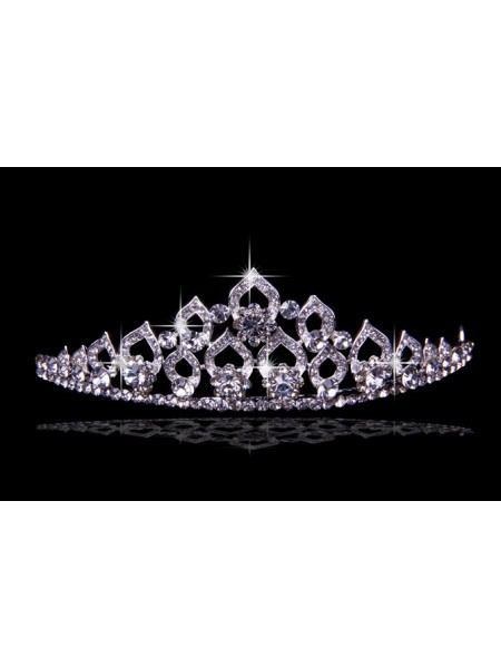 Glamorous Alloy Wedding Headpieces With Czech Rhinestones