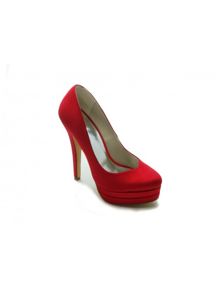 The Most Fashionable Women's Gorgeous Satin Stiletto Heel High Heel Red Wedding Shoes