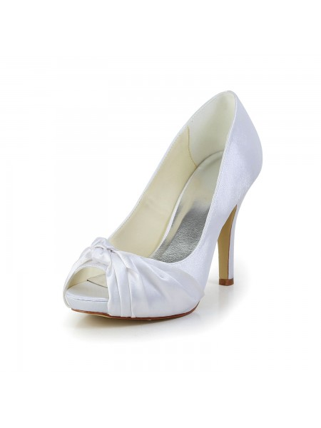 Fashion Trends Women's Gorgeous Satin Stiletto Heel Peep Toe White Wedding Shoes