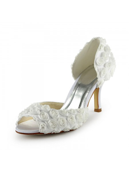 Fashion Trends Women's Gorgeous Satin Stiletto Heel Peep Toe With Flowers White Wedding Shoes