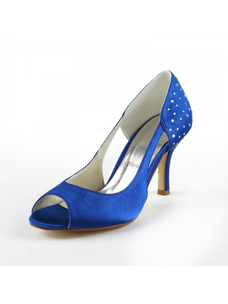 The Most Stylish Women's Gorgeous Satin Stiletto Heel Peep Toe With Rhinestone High Heels