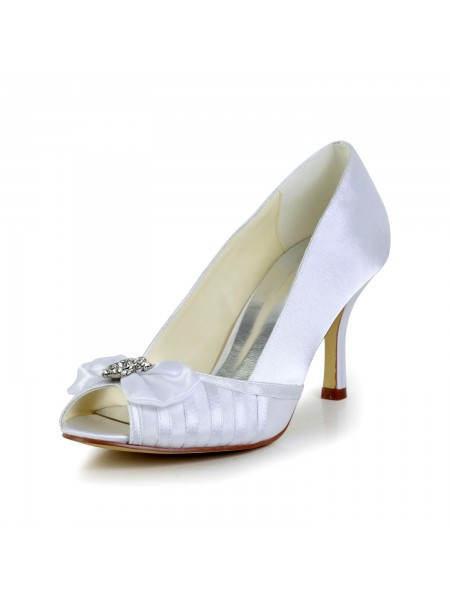 The Most Trendy Women's Graceful Bowknot Stiletto Heel Satin White Wedding Shoes