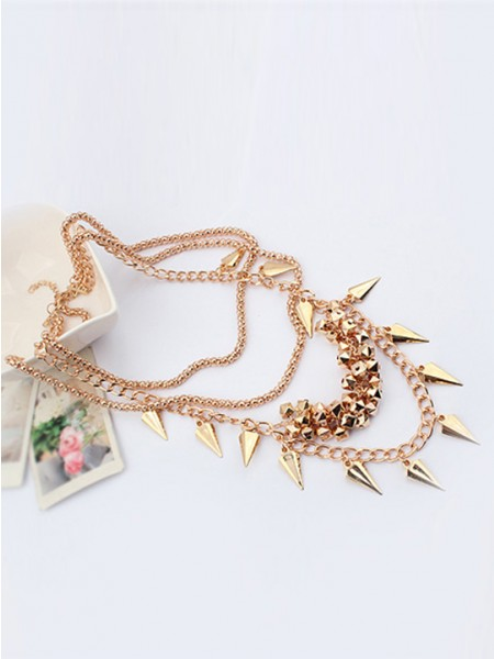 The Most Trendy Occident Hyperbolic Street shooting style Button screw Metallic Multi-layered Hot Sale Necklace