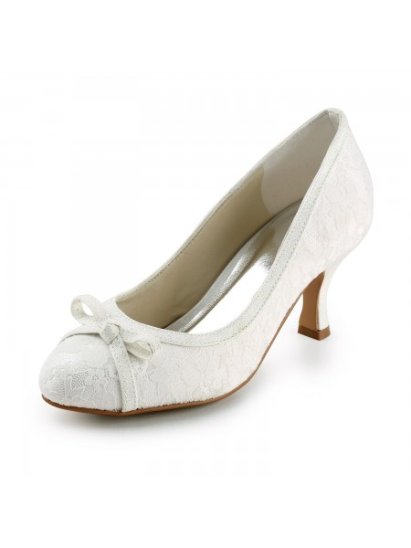 The Most Fashionable Women's Satin Spool Heel Closed Toe Pumps Ivory Wedding Shoes With Bowknot